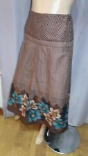 AK floral skater by Dash brown multi 100% Cotton Boho Skirt 18uk smart casual