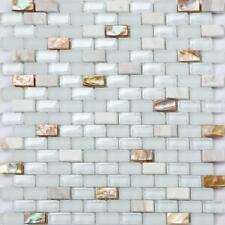 Mother of Pearl , Stone & Glass Mosaic Wall Tile Sheet 0148