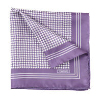 New $180 TOM FORD Lavender Houndstooth Check Print Silk Pocket Square