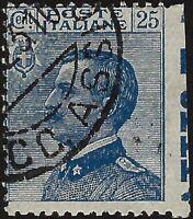 """Regno - 1908 - cent.25 azzurro """"varietà non dentellato a destra"""" - usato - n.83i"""
