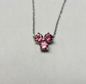 Tiffany & Co. Aria Pink Tourmaline 18k White Gold Floral Pendant Necklace