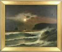 Antique Oil Painting 1800's 19c Cape Ann Gloucester Rockport Hudson River School
