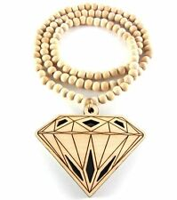"Diamond Wooden Necklace Hip Hop Wood Fashion Beads 36"" Chain"