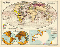 Antique Map Of The World George Philip & Son  1929