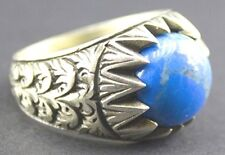 Sterling silver men ring handmade, turquoise natural gemstone, steel pen craft