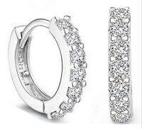 Fashion women Jewelry White Gemstones Crystal Silver Hoop Earrings