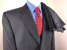 EUC Ralph Lauren Gray Striped 2 Button Suit Mens 44R 39 X 28 Pleated Vented Wool