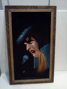 "Vintage Velvet Elvis Painting Signed R. Wood Frame Mexico 1960's 22""x13"" MCM ART"