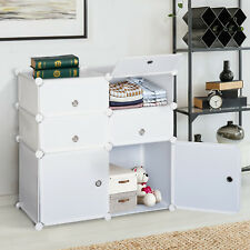HOMCOM Wardrobe Storage System Interlocking Cube Bedroom Clothes Organizer