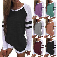 Women Long Sleeve Blouse Sweatshirt Pullover Jumper Casual Top T-shirt Plus Size
