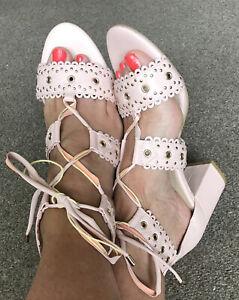 Bnwt Ladies Pink And Gold Block Heel Sandals By Nine Savannah Miller Size 7 New