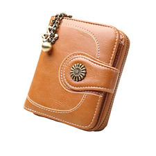 Zlover Women's Credit Card Holder Chain Wallet,Small Leather Trifold Coin Purses