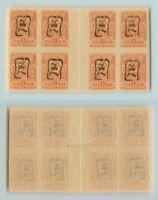 Armenia 🇦🇲 1919 SC 30a mint imperf handstamped black gutter block of 8 . f7046
