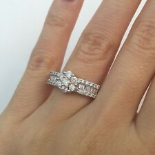 1.04 Ct Round Brilliant and Baguette Cut Diamond Flower Right Hand Ring 18k Gold