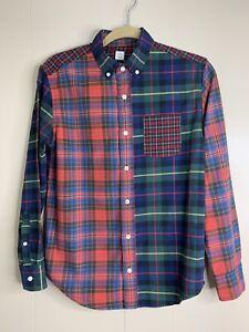 Boys J Crew Crewcuts Size 14 Patchwork Plaid Button Down Shirt Blue Red
