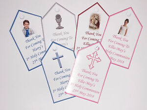 50 Personalised Quality DIY 1st Holy Communion Tags Gloss fronted 230g Card