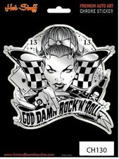 Bad Girl Racing Flag Car Sticker - God Damn Rock and Roll - Fun - Tattoo Art - A