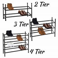 2/3/4 Tier Black Shoe Rack Extendable & Stackable Shoe Storage Organiser Compact