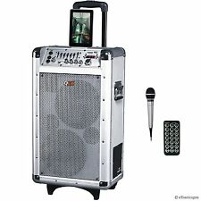 QFX PORTABLE BATTERY POWERED DJ PA BLUETOOTH PARTY SPEAKER with FM RADIO USB/SD