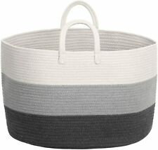 Large Woven Rope Laundry Basket with Long Handles for Clothes Blankets Pillows