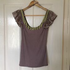 LADIES 'TEDBAKER' BRAND NEW GREY STRIPE/ BOW TOP. SIZE 8/ TEDBAKER SIZE 1.