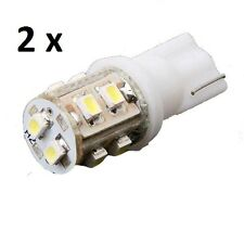 2 x Bright White LED T10 194 2825 168 158 10-SMD Wedge License Plate Light Bulbs