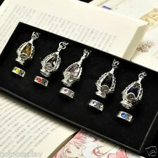 Anime Cosplay Puella Magi Madoka Magica Soul Gem 5 Necklace + 5 Rings With BOX