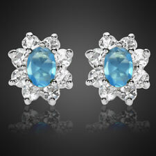 Fashion Jewelry Lady Oval Cut Aquamarine White Gold Plated Stud Earrings Earings