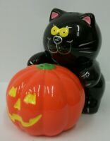 Russ Black Cat & Jack-o-Lantern Halloween Go-With Salt and Pepper Shaker Set EUC