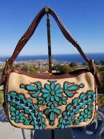 RARE EUC Isabella Fiore Leather Shoulder Bag, Floral Beaded Handbag, Baguette