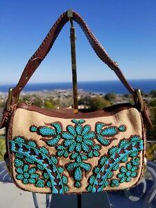 RARE Isabella Fiore Leather Shoulder Bag, Floral Beaded Handbag, Baguette