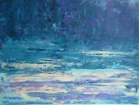 Paysage marin Peinture sur toile Tableau abstrait signé HZEN-61x46-PAYS DE DINA