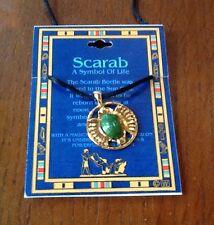 "Gold-tone Scarab Pendant, 36"" Adjustable Length -Handmade Lucky Charm- #Z 19-NEW"
