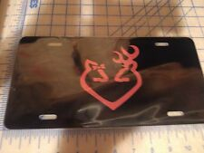 Browning license plate tag Buck and Doe heart (pink)