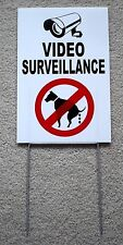 VIDEO SURVEILLANCE - NO DOG POOP 8X12 Plastic Coroplast Sign w/Stake w 25% OFF 3
