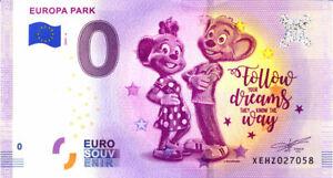ALLEMAGNE Rust, Europa Park 6, Follow your dreams, 2020, Billet Euro Souvenir