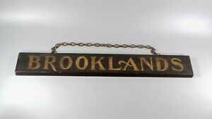 VINTAGE ART DECO BROOKLANDS HAND PAINTED WOODEN SIGN CLASSIC CAR RACING