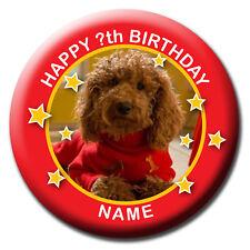PERSONALISED WAFFLE THE WONDER DOG BIRTHDAY BADGE MAGNET OR SLIDE- 58 or 77MM