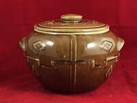 Vintage Stoneware Bean Pot Brown Glaze Aztec Native Design Pottery W Lid USA A++