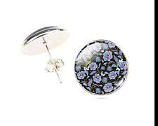 VETRO elegante nero e Orecchini a Perno Fiore Blu. venditore UK