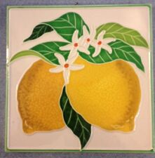 Vietri Pottery-6x6 inch tile with lemon.Made Painted by hand in Italy