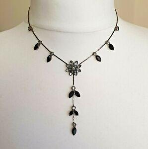 "Bronze Tone Flower Rhinestone Y Shaped Victorian Style Goth Necklace 15"""