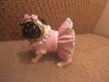 NIB Pug Dog Figurine Pink Tutu Dress Bow Resin
