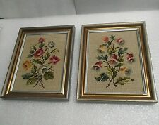 Vintage Framed Floral Needlepoint Pictures/Set of 2 Handmade 1960's