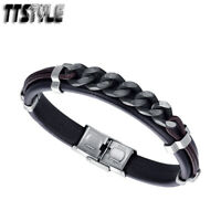 TRENDY TTStyle Black Leather Bracelet Wristband NEW