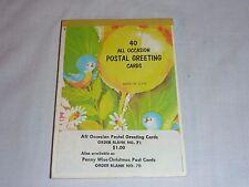 VIntage Mid Century Pad of Postal Greetings Postcards Unused Panda MOD Girl