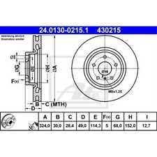 ATE 2x Brake Discs Vented Coated 24.0130-0215.1