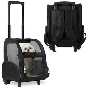 Pet Dog Carrier Puppy Travel Backpack Travel Portable Suitcase Wheel Trolley Bag