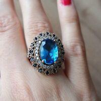 Turkish Handmade Jewelry Sterling Silver 925 Aquamarine Ring 6 7 8 9