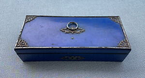antique cobalt blue wooden silver plated box jewelery treasure maritime ship